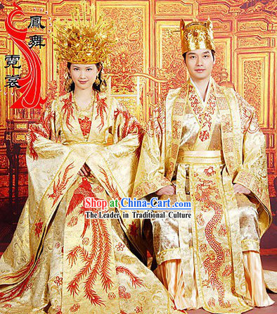 Ancient Chinese Emperor and Empress Wedding Dresses and Crowns Two Sets