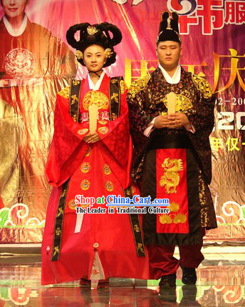 Ancient Korean Empress and Emperor Costumes 2 Sets