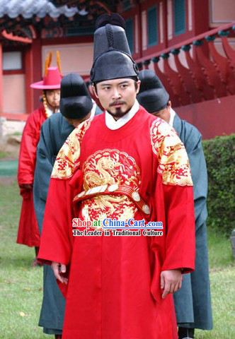 Ancient Korean Emperor Dragon Costumes and Hat Set