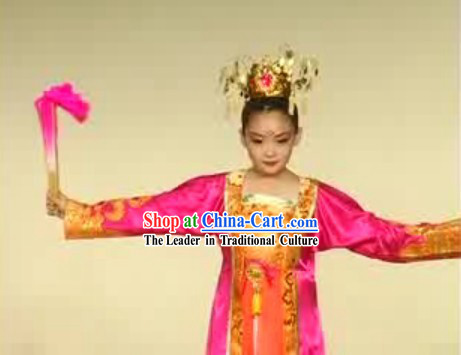 Chinese Children Fan Dance Costume Complete Set