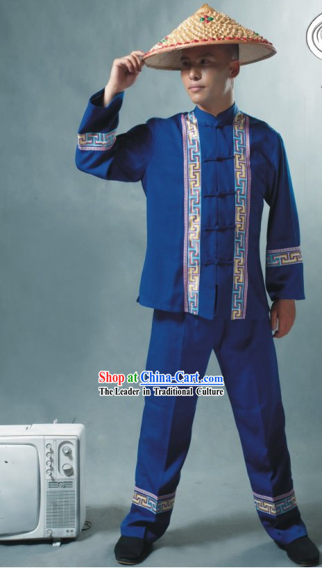 Chinese Soil Family Costume and Hat Complete Set / Tu Minority