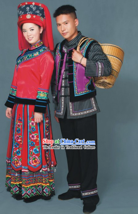 Miao Tribe Clothes Two Sets for Men and Women
