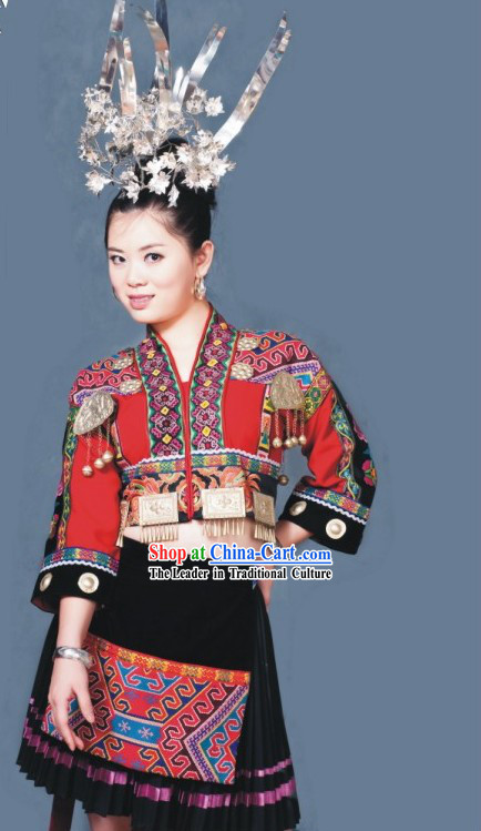 Chinese Tu Minority Clothes Complete Set