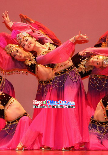 China Traditional Xinjiang Ladies Dance Costume Complete Set