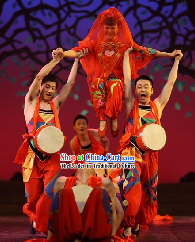Chinese Traditional Waist Drum Dance Costumes and Drum Set for Men