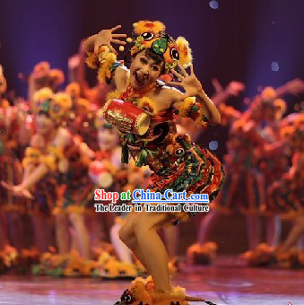 Chinese Tiger Dance Costume Complete Set