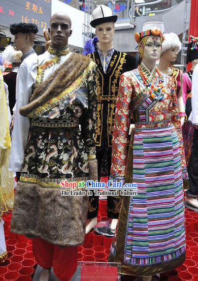 Traditional Tibetan Dress Two Sets for Men and Women