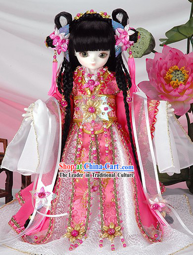 Chinese Princess Children Clothes and Hair Decoration Comoplete Set