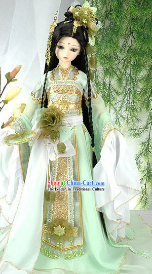 Chinese Ancient Princess Clothing and Hair Accessories Complete Set