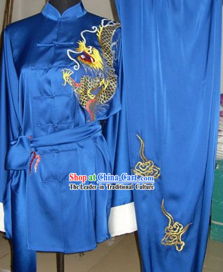 Dragon Embroidery Martial Arts and Tai Chi Competition Uniform for Men