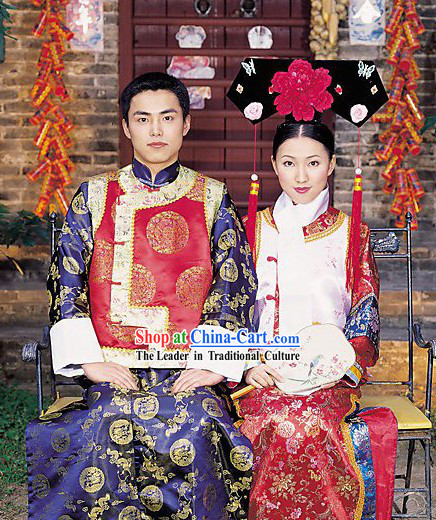 Chinese Classical Wedding Dress 2 Sets for Bride and Bridegroom
