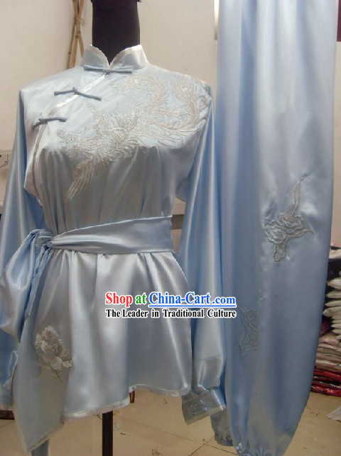 Chinese Martial Arts Silk Phoenix Women Clothes Complete Set