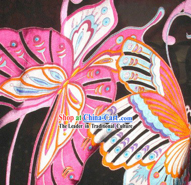 Black Butterfly Silk Fabric