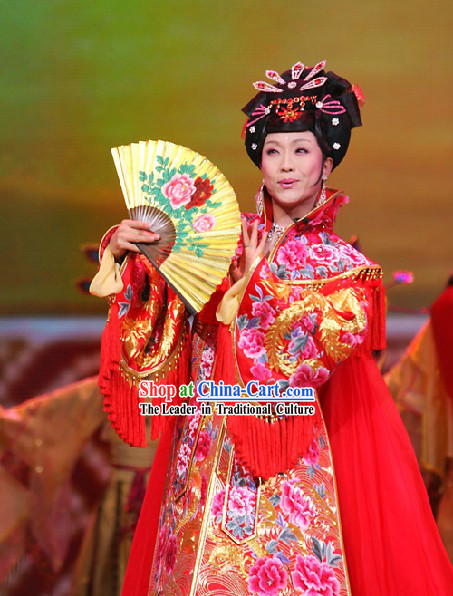 Chinese Classical Lucky Red Phoenix Wedding Dress Complete Set for Women