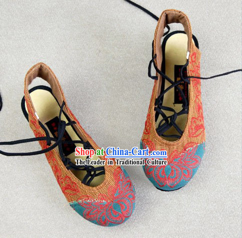 Chinese Embroidered Flower Summer Shoes