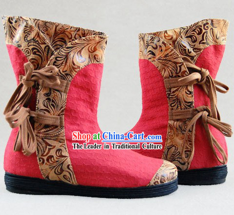 Chinese Embroidery Boots _ Handmade Red Boots