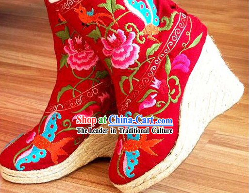 Chinese Hand Made High Heel Embroidery Boots