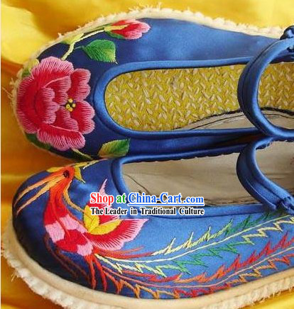 Chinese Hand Made and Embroidery Phoenix Peony Shoes