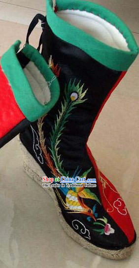 Chinese Traditional Hand Made Embroidery Phoenix Boots