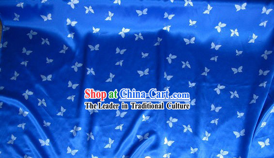 Chinese Pure Silk Blue Butterfly Fabric