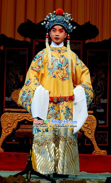 Chinese Traditional Opera Embroidered Emperor Dragon Clothing and Hat Set for Children