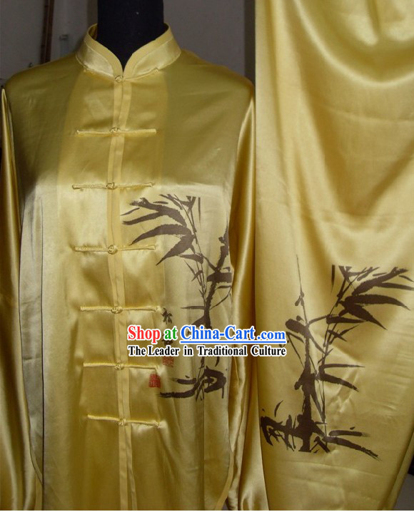 Chinese Original Bamboo Painting Tai Chi Uniform