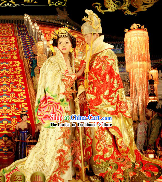 Chinese Emperor and Empress Wedding Dress 2 Complete Sets