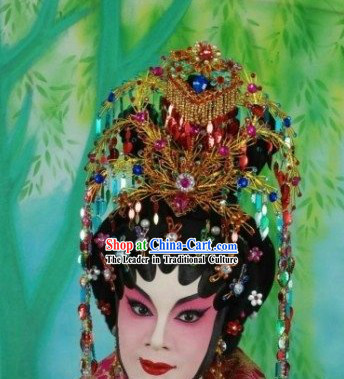 Beijing Opera Wig and Hair Decoration Complete Set