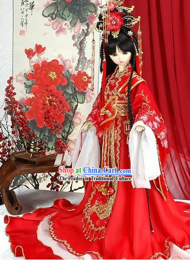 Traditional Chinese Empress Wedding Dress and Hair Decoration Complete Set
