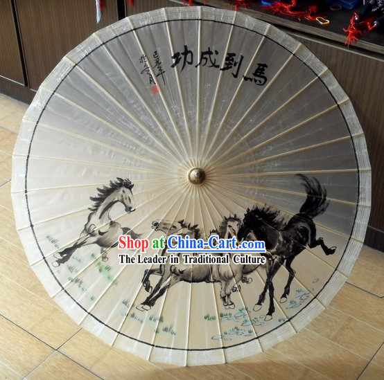 Chinese Hand Made Horse Painting Paper Umbrella