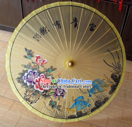 Chinese Traditional Goldfish Painting Display Umbrella