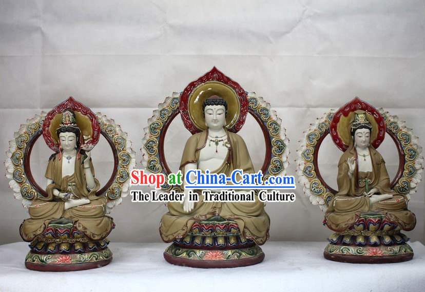 Three Buddha Ceramics Figurine Sets
