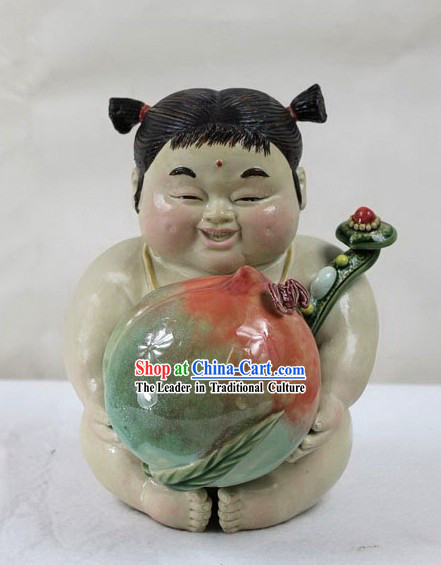 Lucky Chinese Girl Shiwan Ceramics Figurine