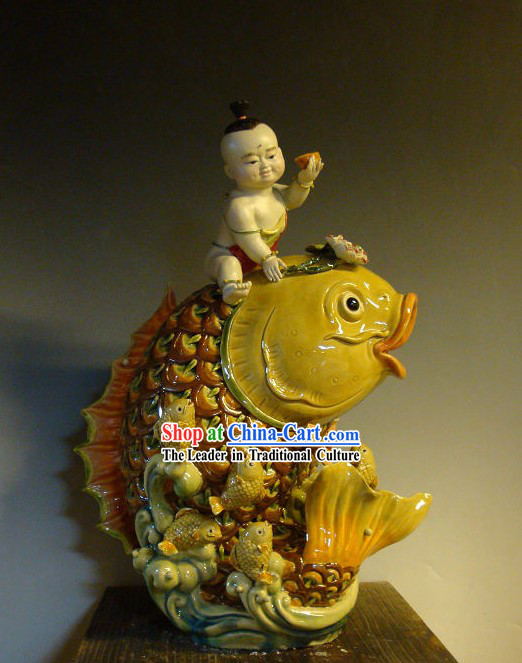Feng Shui Carp and Boy Chinese Shiwan Ceramic Figurine
