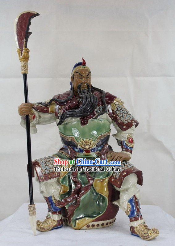 Guan Gong Sitting on Drum Shiwan Ceramic Figurine