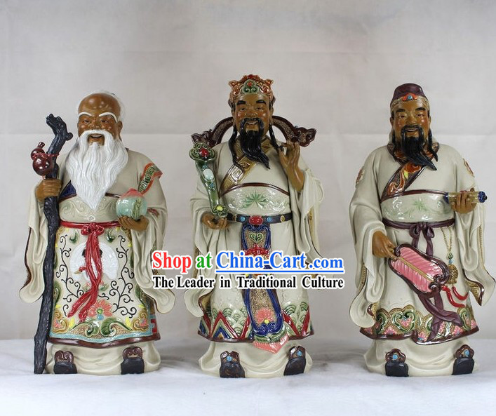 Chinese Three Stars Shiwan Ceramic Sculpture Figurine
