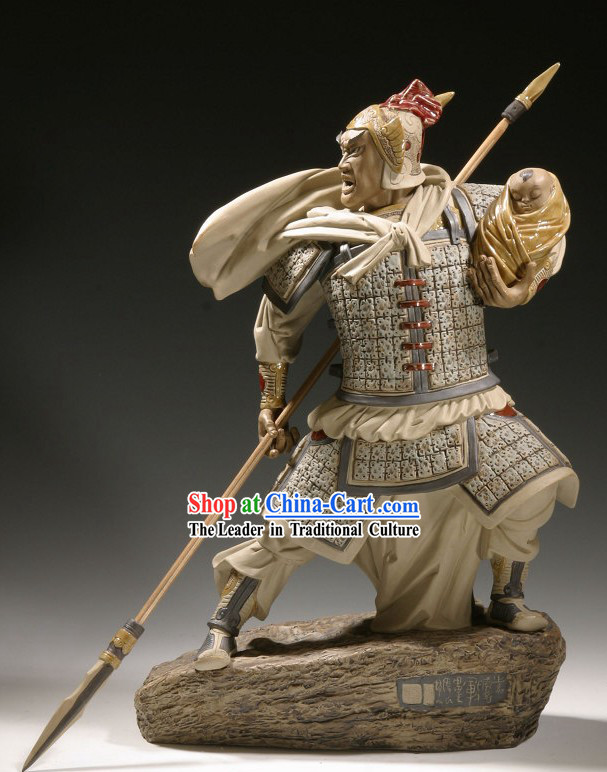 Winning General Chinese Shiwan Ceramic Figurine