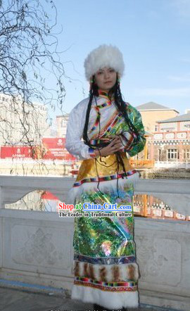 Chinese Tibetan Costume and Hat Complete Set