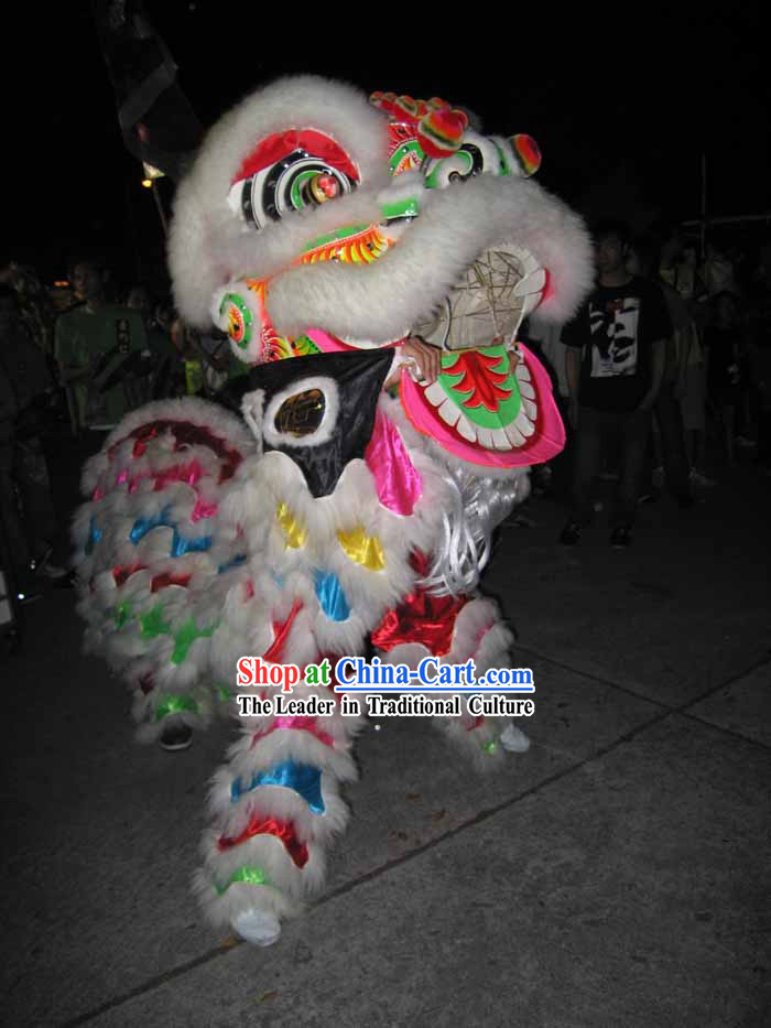 Rainbow Luminous Fluorescent Chinese Lion Dance Costumes Complete Set