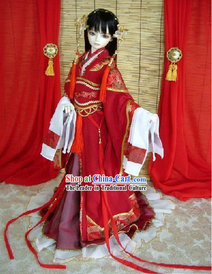 Chinese Red Lunar New Year Costume and Hair Accessories