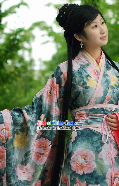 Ancient Chinese Peony Princess Clothing Complete Set