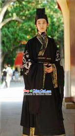 Ancient Chinese Black Dragon Male Costumes and Hat