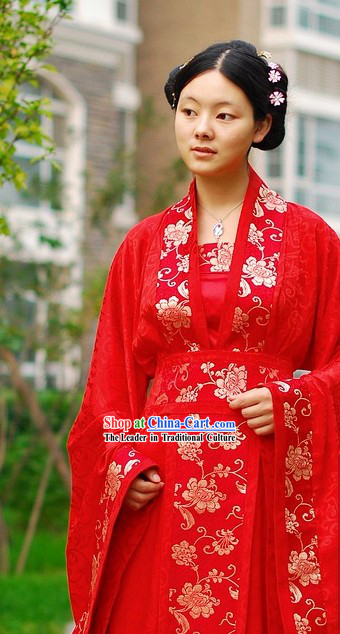 Stunning Traditional Chinese Red Wedding Outfit Complete Set for Brides