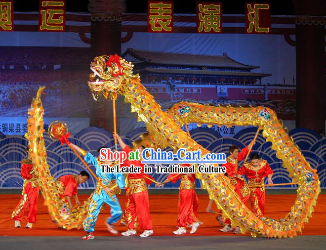 Peking Olympic Games Lightweight Net Dragon Dance Costumes Complete Set