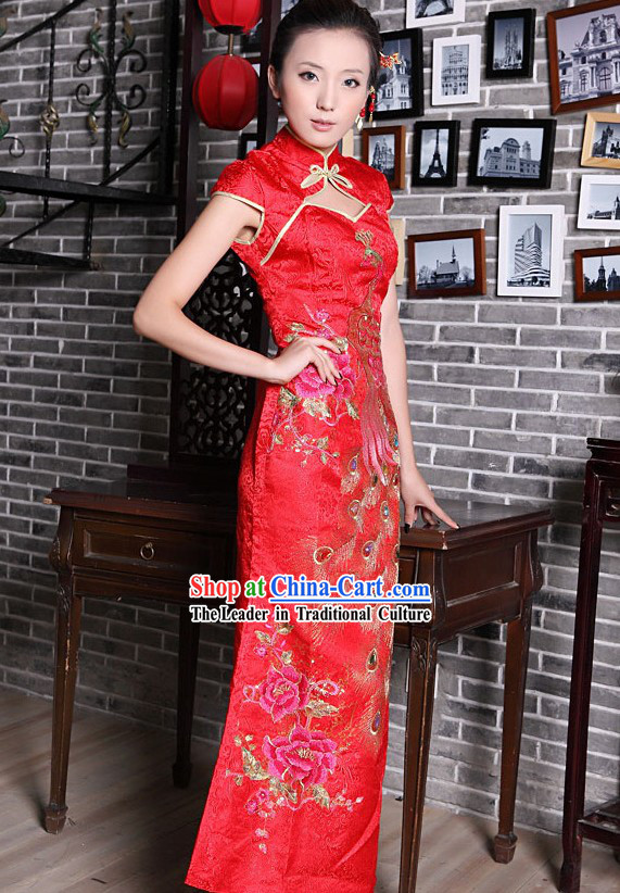 Lucky Red Chinese Wedding Phoenix Evening Dress