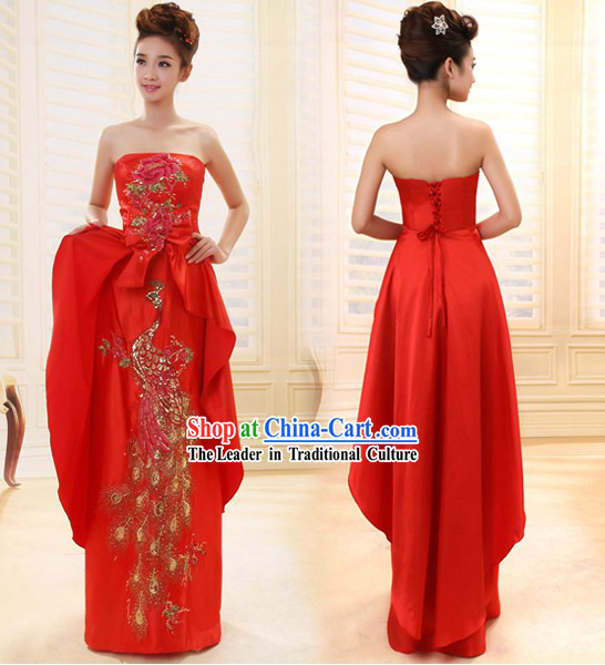 Lucky Red Chinese Wedding Phoenix Full Dress