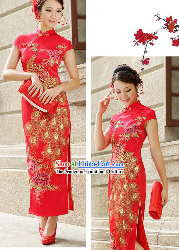 Chinese Classical Red Wedding Phoenix Qipao