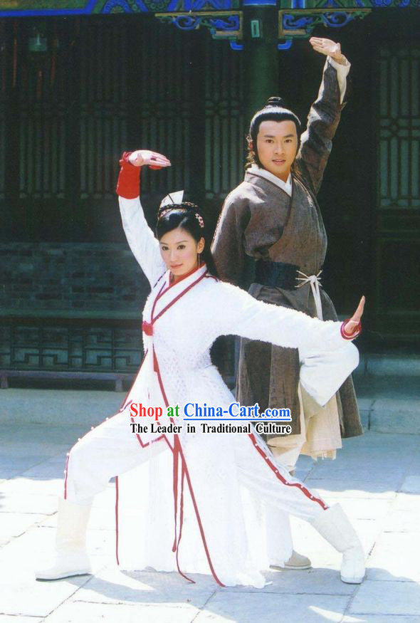 Chinese Classic Kung Fu Outfits 2 Sets for Men and Women