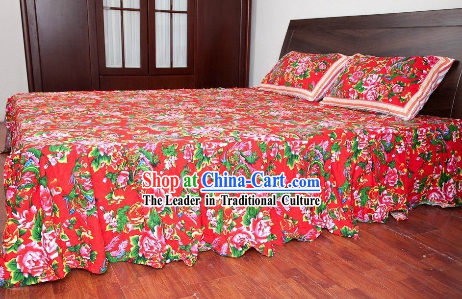 Traditional Chinese Wedding Bedcover and Pillow Complete Set