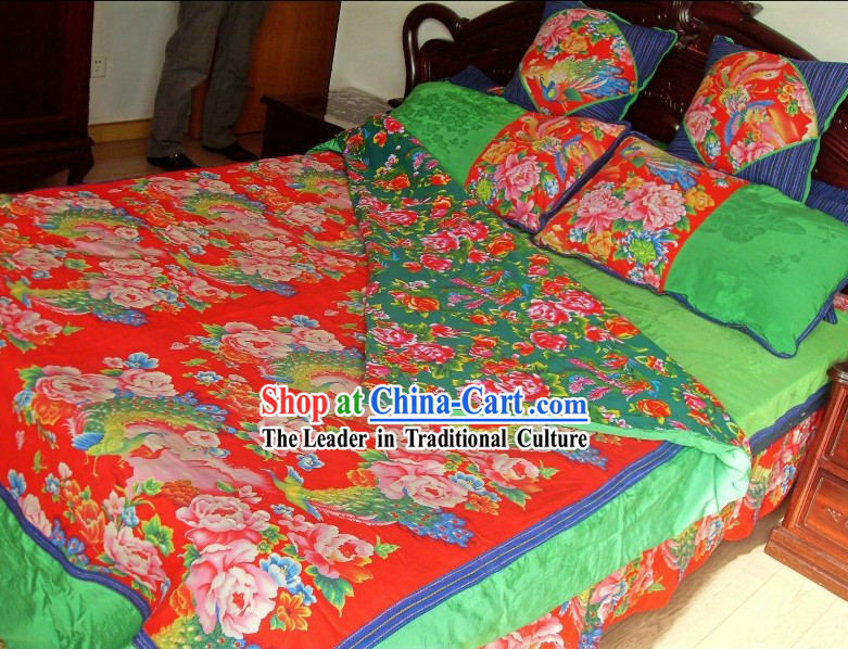 Traditional Chinese Wedding Phoenix Dragon Bed Sheet and Pillows Complete Set